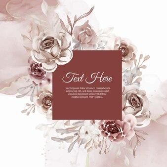 Beau cadre floral avec une élégante fleur en terre cuite
