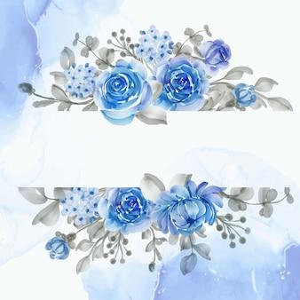 Beau cadre floral avec une fleur élégante bleue