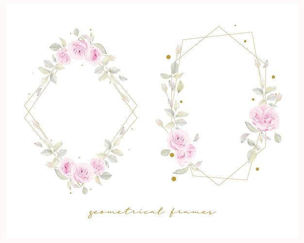 Beau cadre floral avec fleur de roses aquarelle