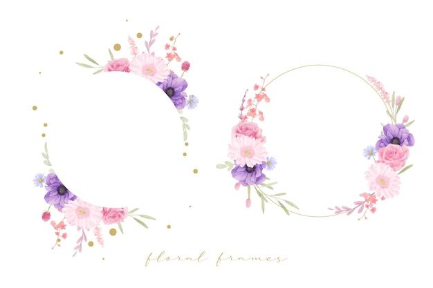 Beau cadre floral avec des fleurs aquarelle rose, anémone et gerbera