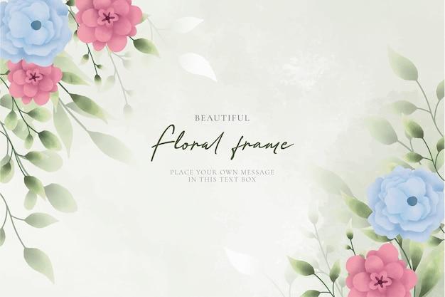 Beau cadre floral avec des fleurs à l'aquarelle