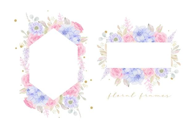 Beau cadre floral avec des fleurs aquarelles