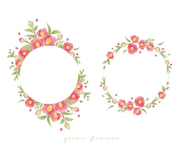 Beau cadre floral avec des fleurs de camélia aquarelles