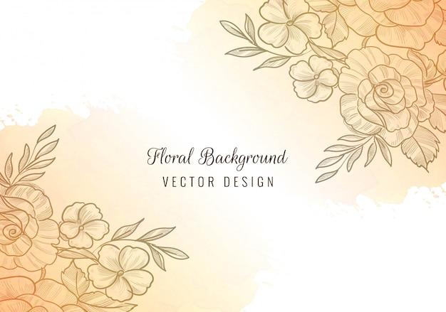 Beau cadre floral avec fond aquarelle