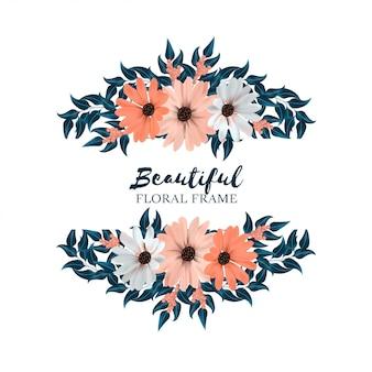 Beau cadre floral horizontal avec bouquet de fleurs