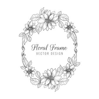 Beau cadre floral de mariage décoratif