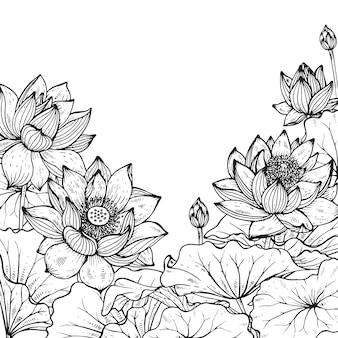 Beau cadre floral monochrome avec lotus