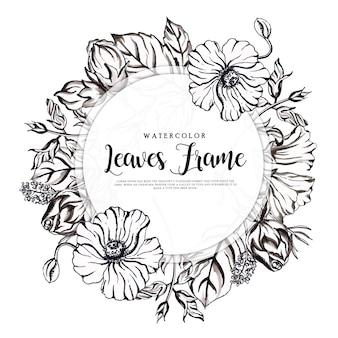 Beau cadre floral noir et blanc avec aquarelle
