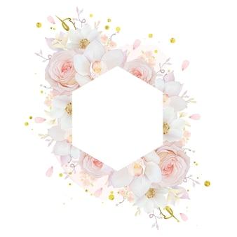 Beau cadre floral avec orchidée rose aquarelle et fleur d'anémone