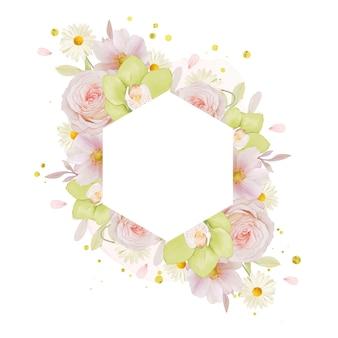 Beau cadre floral avec orchidée rose et verte aquarelle