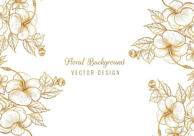 Beau cadre floral ornemental doré