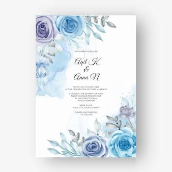 Beau cadre floral pour mariage avec fleur aquarelle bleu