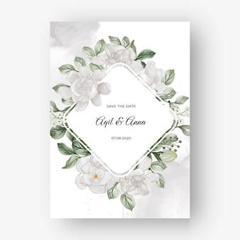 Beau cadre floral pour mariage avec fleur blanche de gardénia