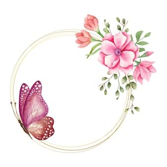 Beau cadre floral de printemps aquarelle avec beau papillon
