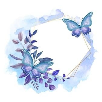 Beau cadre floral de printemps aquarelle avec de beaux papillons