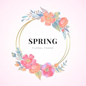 Beau cadre floral de printemps aquarelle
