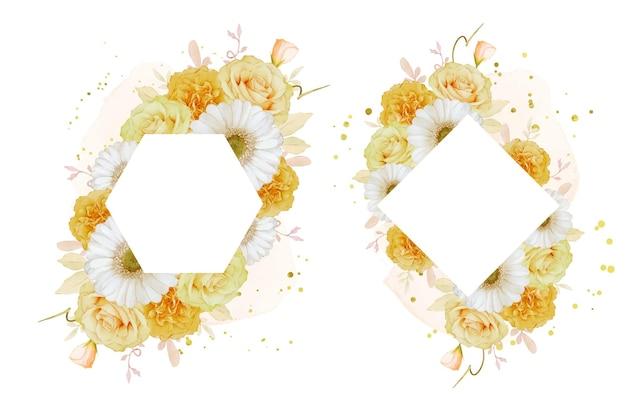 Beau cadre floral avec rose jaune aquarelle et fleur de gerbera blanche