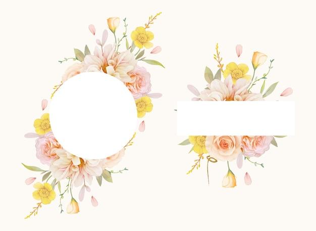 Beau cadre floral avec des roses aquarelles et dahlia