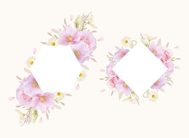Beau Cadre Floral Avec Des Roses Aquarelles Et Fleur D'anémones Vecteur gratuit