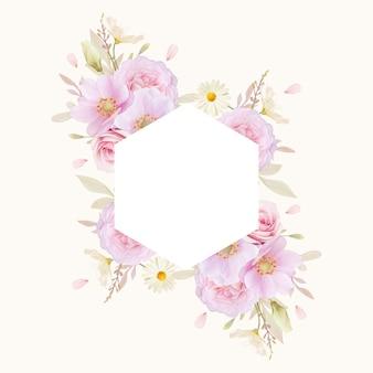 Beau cadre floral avec des roses aquarelles et fleur d'anémones