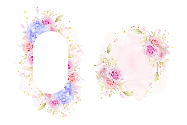 Beau cadre floral avec des roses aquarelles et fleur d'hortensia bleu