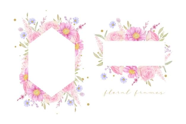Beau cadre floral avec des roses aquarelles et des fleurs d'anémone