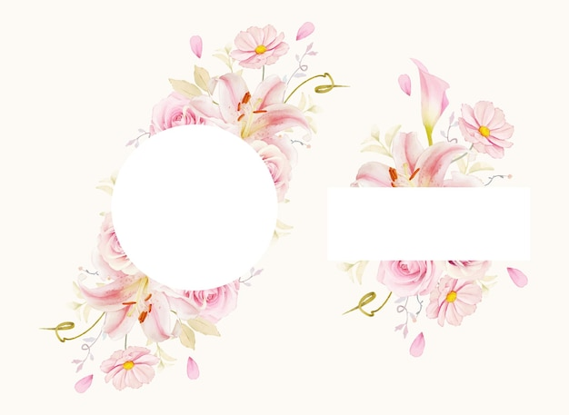 Beau cadre floral avec des roses aquarelles lys et calla lily