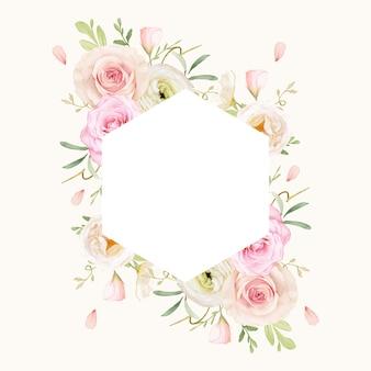 Beau cadre floral avec des roses aquarelles et renoncules