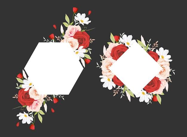 Beau cadre floral avec des roses aquarelles roses et rouges