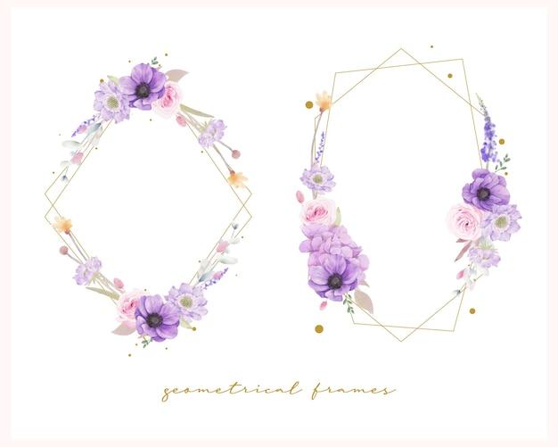 Beau cadre floral avec des roses aquarelles