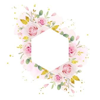 Beau cadre floral avec des roses roses aquarelles et ornement or