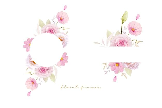 Beau cadre floral avec des roses roses aquarelles