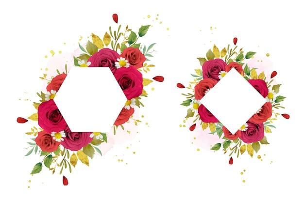 Beau cadre floral avec des roses rouges aquarelles