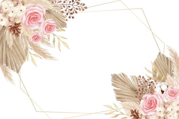 Beau cadre floral séché bohème