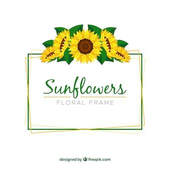 Beau cadre floral avec des tournesols