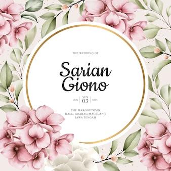 Beau cadre floral et verdoyant pour carte de mariage