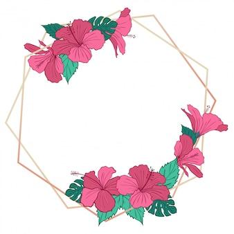 Beau cadre géométrique d'hibiscus en or rose
