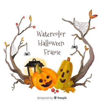 Beau cadre halloween aquarelle