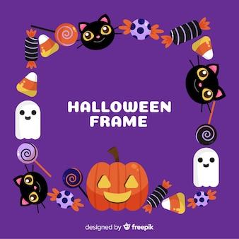 Beau cadre de halloween avec un design plat