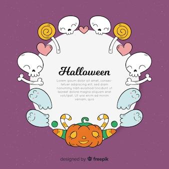 Beau cadre de halloween dessiné à la main