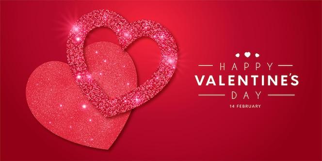 Beau cadre happy valentine's day avec modèle brillant de coeurs réalistes