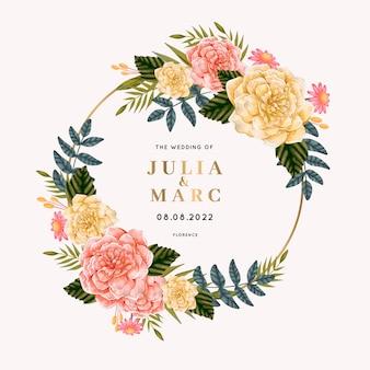Beau cadre de mariage avec des fleurs
