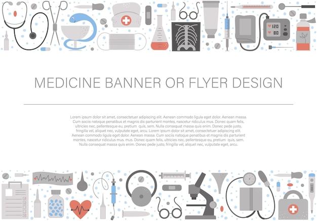 Beau cadre de mise en page horizontale avec équipement médical et outils