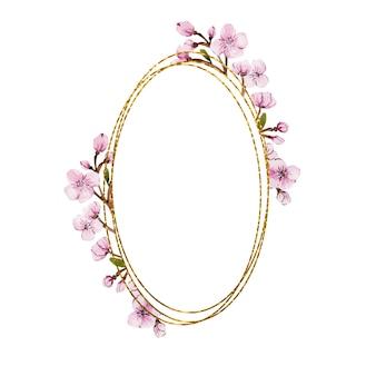 Beau cadre ovale doré avec des fleurs de sakura aquarelle