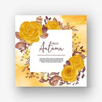 Beau cadre rose bonjour fond d'automne