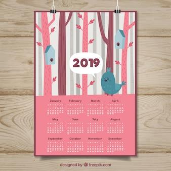 Beau calendrier 2019 avec des oiseaux