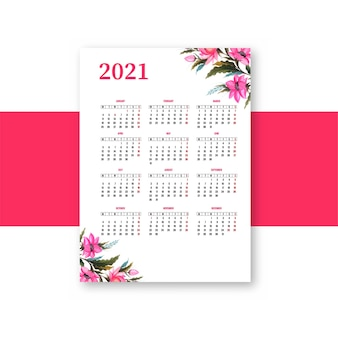Beau calendrier 2021 avec conception de modèle floral