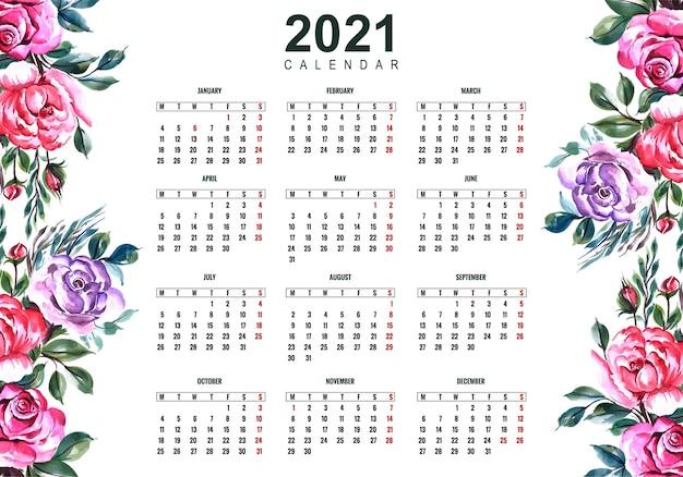 Beau calendrier 2021 avec un design floral coloré