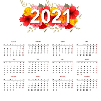 Beau calendrier 2021 avec des fleurs colorées