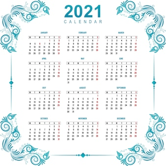 Beau calendrier 2021 pour la conception florale ornementale